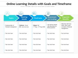 Online Learning Details With Goals And Timeframe