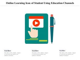 Online Learning Icon Of Student Using Education Channels