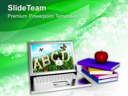 Online Learning With An Apple Technology Powerpoint Templates Ppt Themes And Graphics 0213