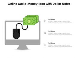 Online Make Money Icon With Dollar Notes