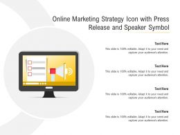 Online Marketing Strategy Icon With Press Release And Speaker Symbol