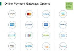 Online Payment Gateways Options Marketing Ppt Powerpoint Presentation Template Icon