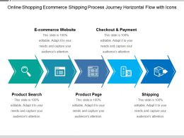 Online Shopping Ecommerce Shipping Process Journey Horizontal Flow With Icons