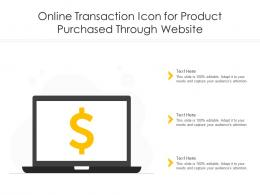 Online Transaction Icon For Product Purchased Through Website