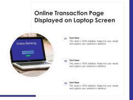 Online Transaction Page Displayed On Laptop Screen
