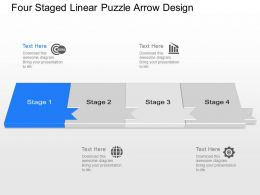 Oo Four Staged Linear Puzzle Arrow Design Powerpoint Template Slide