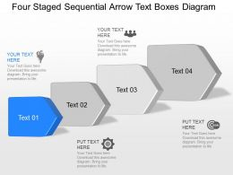 oo Four Staged Sequential Arrow Text Boxes Diagram Powerpoint Template