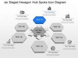 Oo Six Staged Hexagon Hub Spoke Icon Diagram Powerpoint Template