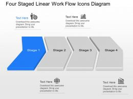 Op Four Staged Linear Work Flow Icons Diagram Powerpoint Template Slide