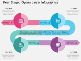 op Four Staged Option Linear Infographics Flat Powerpoint Design
