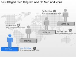 op Four Staged Step Diagram And 3d Men And Icons Powerpoint Template