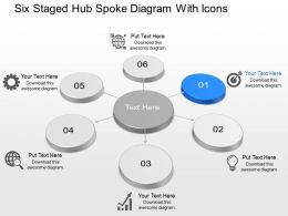 Op Six Staged Hub Spoke Diagram With Icons Powerpoint Template