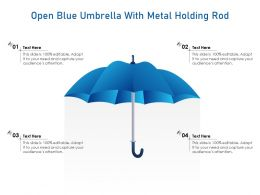 Open Blue Umbrella With Metal Holding Rod