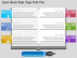 Open Book Style Tags With Pen Flat Powerpoint Design