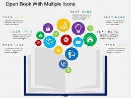 Open Book With Multiple Icons Flat Powerpoint Design