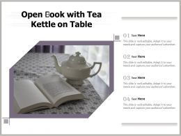 Open Book With Tea Kettle On Table