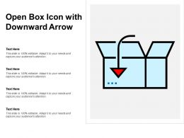 Open Box Icon With Downward Arrow