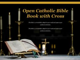 Open Catholic Bible Book With Cross