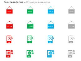 Open Close Board Mobile Apps Settings Ppt Icons Graphics