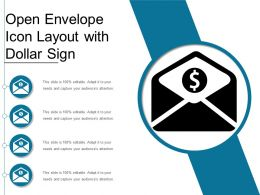 Open Envelope Icon Layout With Dollar Sign