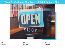 Open For Customer Sign Board At Retail Business Shop