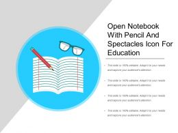 Open Notebook With Pencil And Spectacles Icon For Education