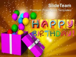 Opened Gift Box With Balloons Birthday Powerpoint Templates Ppt Themes And Graphics 0113