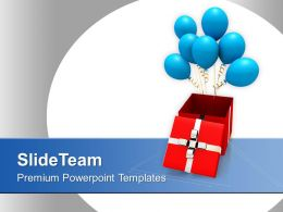 Opened Gift Box With Blue Balloons PowerPoint Templates PPT Themes And Graphics 0113