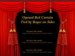 Opened Red Curtain Tied By Ropes On Sides