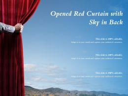 Opened Red Curtain With Sky In Back