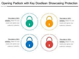 Opening Padlock With Key Doodlean Showcasing Protection
