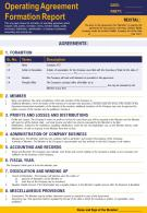 Operating Agreement Formation Report Presentation Report Infographic PPT PDF Document