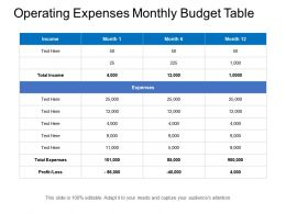 Operating Expenses Monthly Budget Table