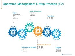 Operation Management 6 Step Process Product And Services Gear Ppt Powerpoint Presentation Summary Show