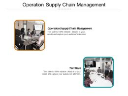Operation Supply Chain Management Ppt Powerpoint Presentation Ideas Structure Cpb