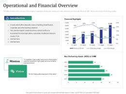 Operational And Financial Overview Investment Pitch Raise Funds Financial Market Ppt Deck