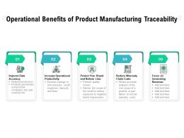Operational Benefits Of Product Manufacturing Traceability