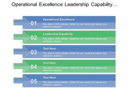 Operational Excellence Leadership Capability Workforce Engagement Innovation Change