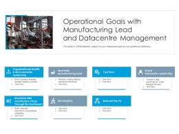 Operational Goals With Manufacturing Lead And Datacenter Management