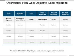 Operational Plan Goal Objective Lead Milestone