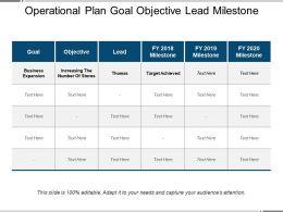 Operational Plan Goal Objective Lead Milestone