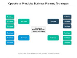 Operational Principles Business Planning Techniques Ppt Powerpoint Presentation File Pictures Cpb