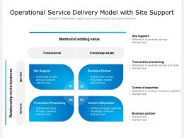 Operational Service Delivery Model With Site Support
