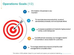 Operations Goals Arrows Management Ppt Powerpoint Presentation Summary Graphics