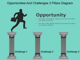 Opportunities And Challenges 3 Pillars Diagram Sample Of Ppt
