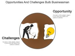 Opportunities And Challenges Bulb Businessman Example Ppt Presentation