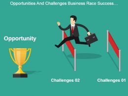 opportunities_and_challenges_business_race_success_trophy_good_ppt_example_Slide01