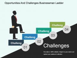 Opportunities And Challenges Businessman Ladder Powerpoint Guide