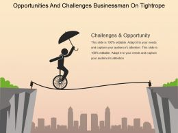 Opportunities And Challenges Businessman On Tightrope Powerpoint Images
