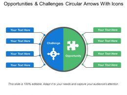 Opportunities And Challenges Circular Arrows With Icons